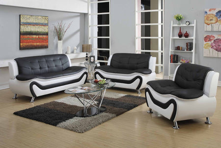 Auckland Sofa Set - Black & White