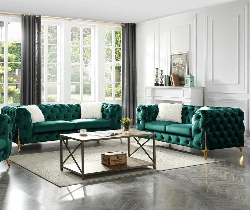 Moderno Sofa and loveseat green
