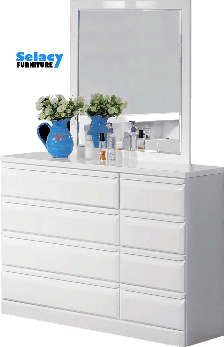 White Lacquer Dresser and Mirror  - North