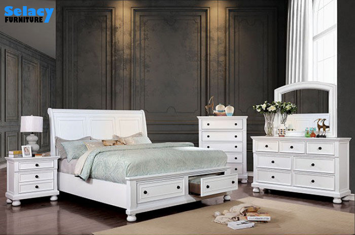 Parker White Bedroom Set  - Complete 8 PC Set