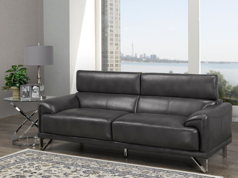 Layla 3-Seater Sofa with Adjustable Headrest, Dark Grey - 2012S