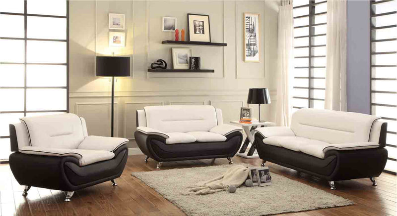 SOFA SET 3 PC - BLACK & ALMOND