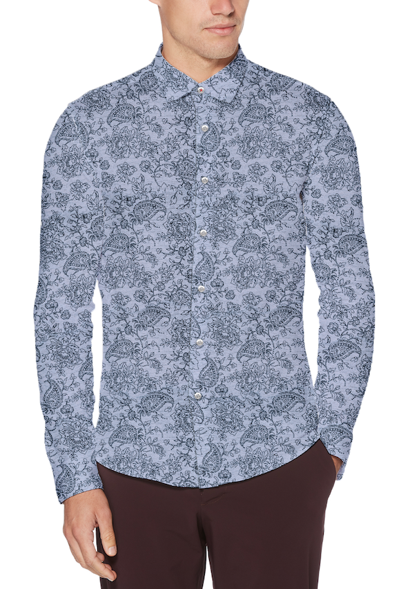 Blue Paisley Stretch Knit Button Up - SCARCI Italian Sportswear
