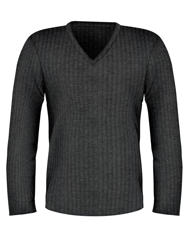Grey V Neck Long Sleeve Lightweight Sweater - SCARCI Italian Sportswear