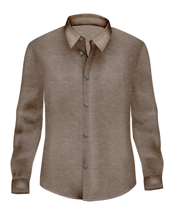 Brown Pique Stretch Knit Button Up - SCARCI Italian Sportswear