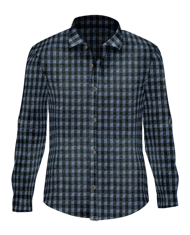 Blue Gingham Stretch Cotton Button Up - SCARCI