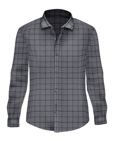 Blue Brushed Cotton Button Up - SCARCI Italian Sportswear