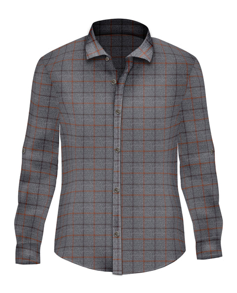 Orange Brushed Cotton Button Up - SCARCI Italian Sportswear