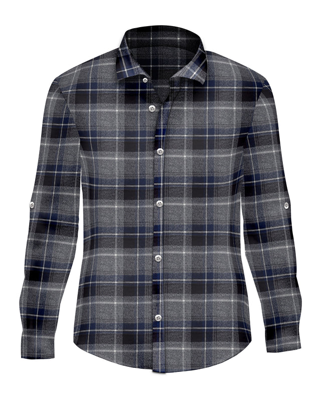 Blue Plaid Brushed Cotton Button Up - SCARCI