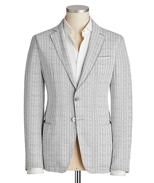 Grey Como Light Oxford Knit Blazer - SCARCI