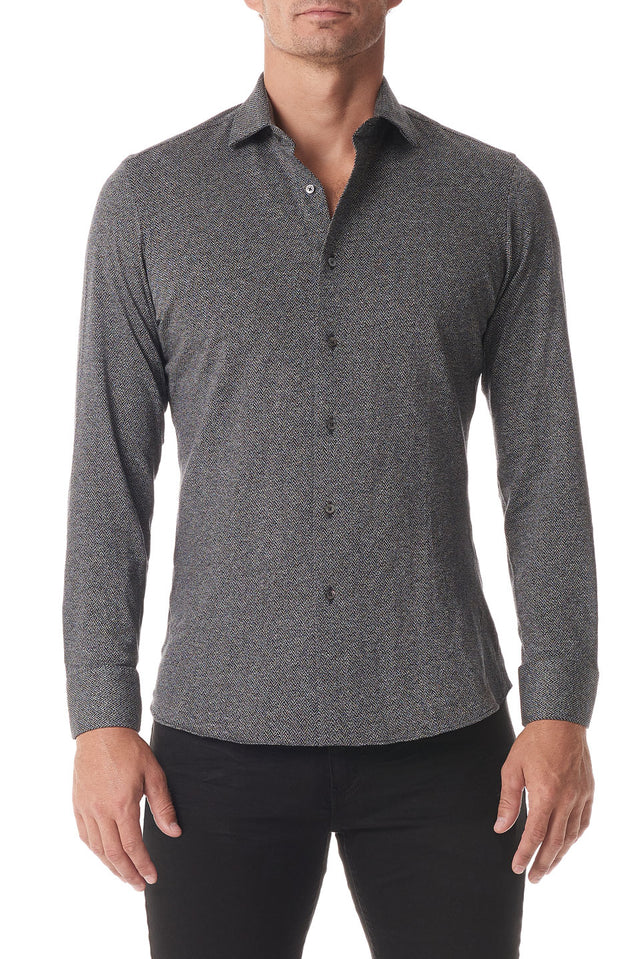 Black Herringbone Stretch Knit Button Up - SCARCI Italian Sportswear