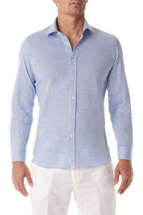 Light Blue Gingham Stretch Cotton Button Up