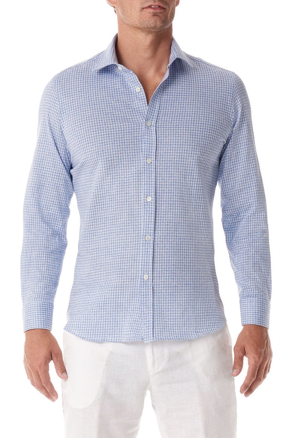 Light Blue Gingham Stretch Cotton Button Up - SCARCI Italian Sportswear