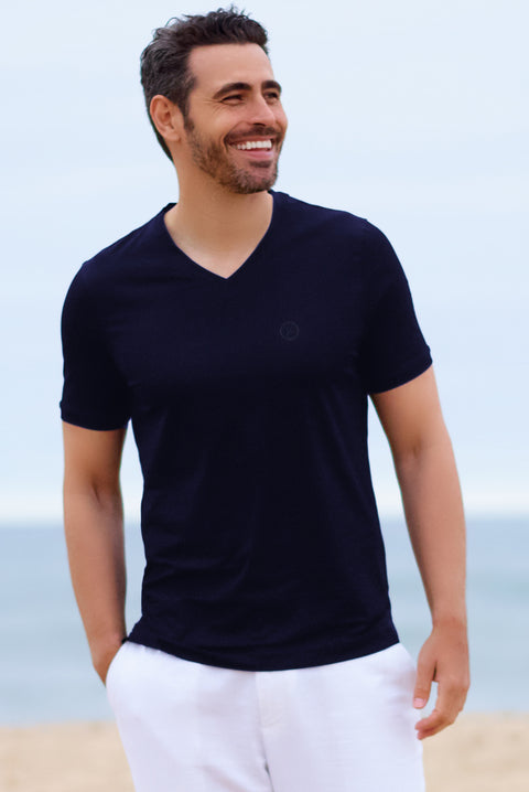 Navy RWC Cotton V Neck - SCARCI Italian Sportswear