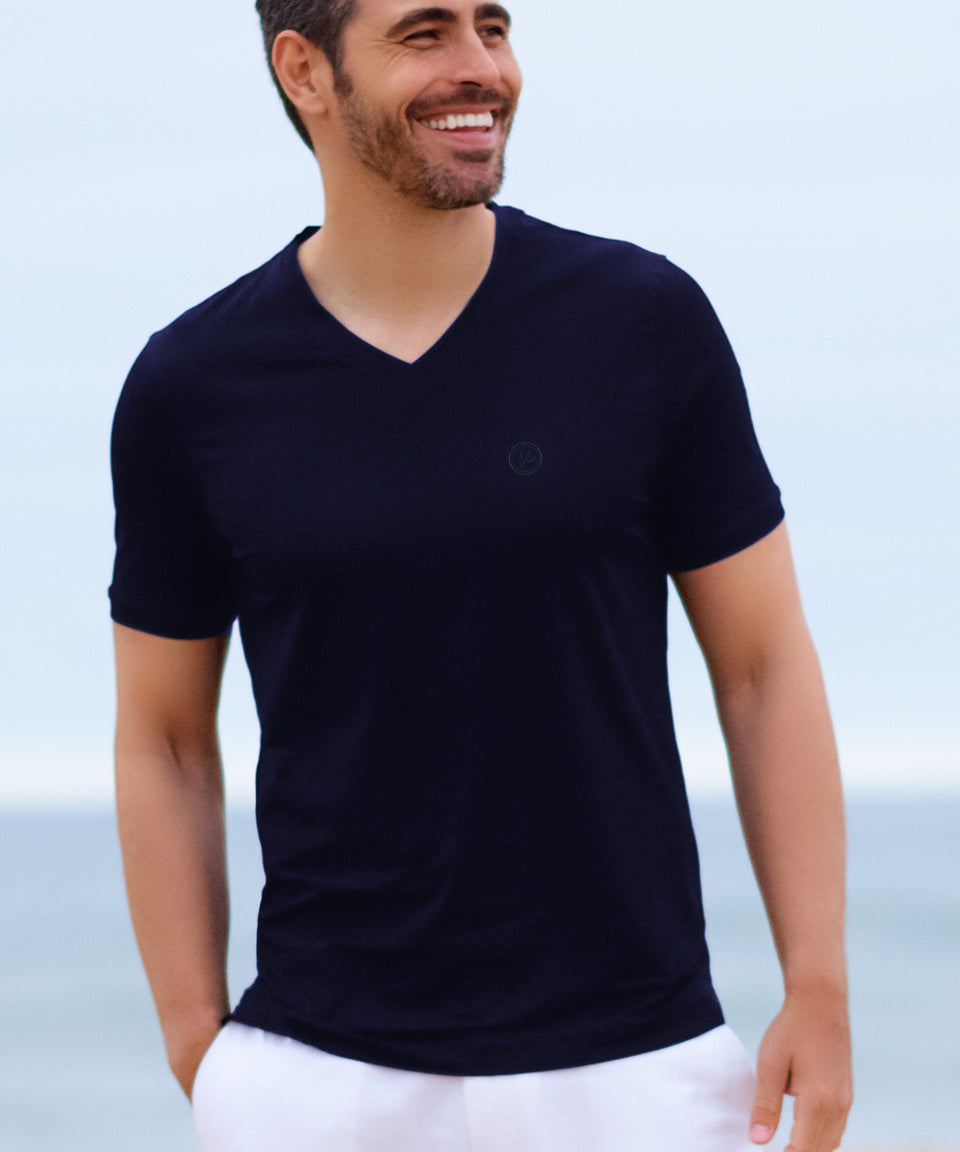 Men's Navy Designer Cotton V Neck T-Shirt