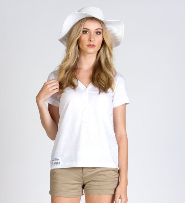 White Cotton / Linen Yacht Polo - SCARCI