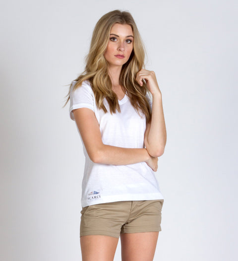 White Cotton / Linen V Neck - SCARCI