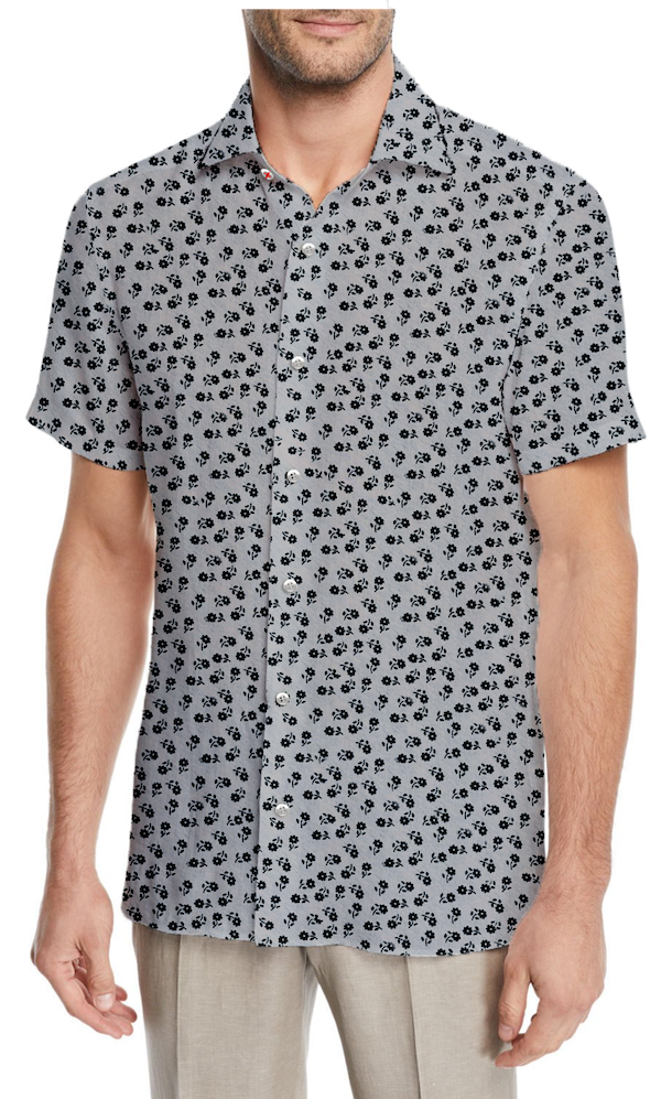 Grey Micro Flowers Stretch Short Sleeve Button Up - SCARCI Italian Sportswear