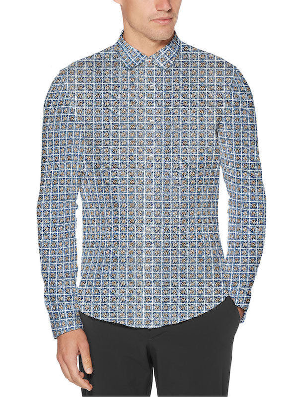 Blue Square Stretch Cotton Button Up - SCARCI