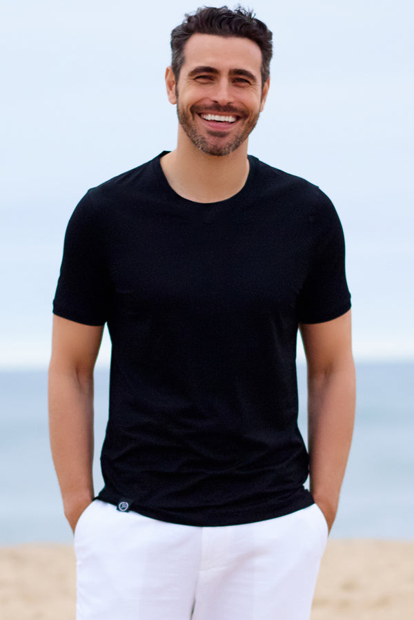 Black Silky Round Neck T Shirts for Mens