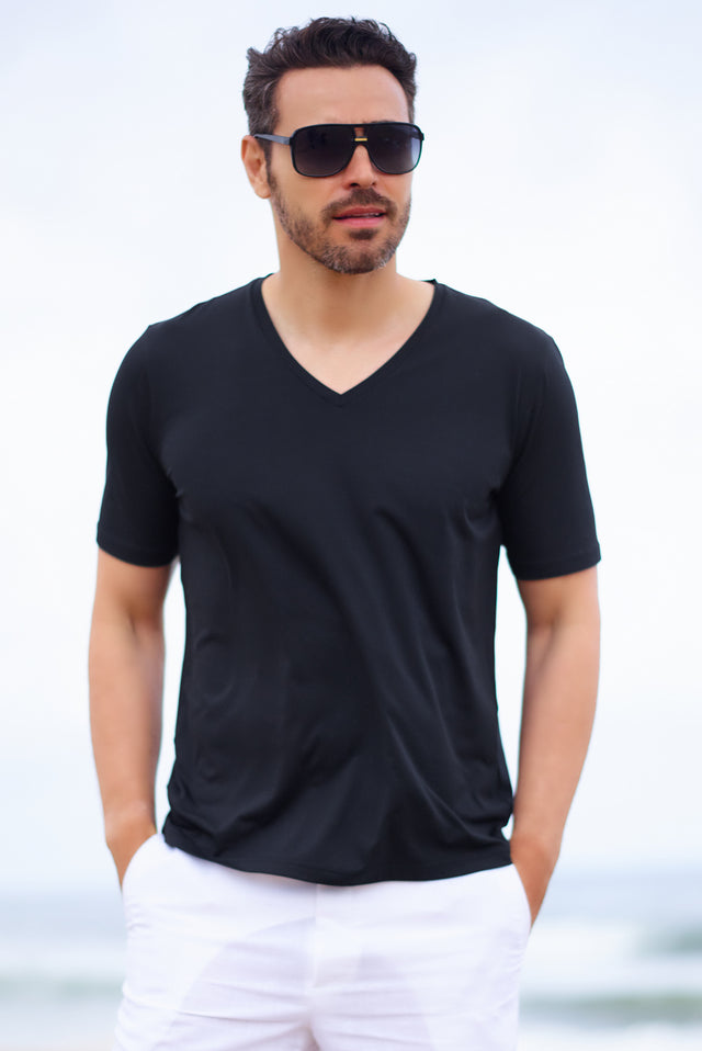 Mens Vacation Wear V Neck Tee Shirt