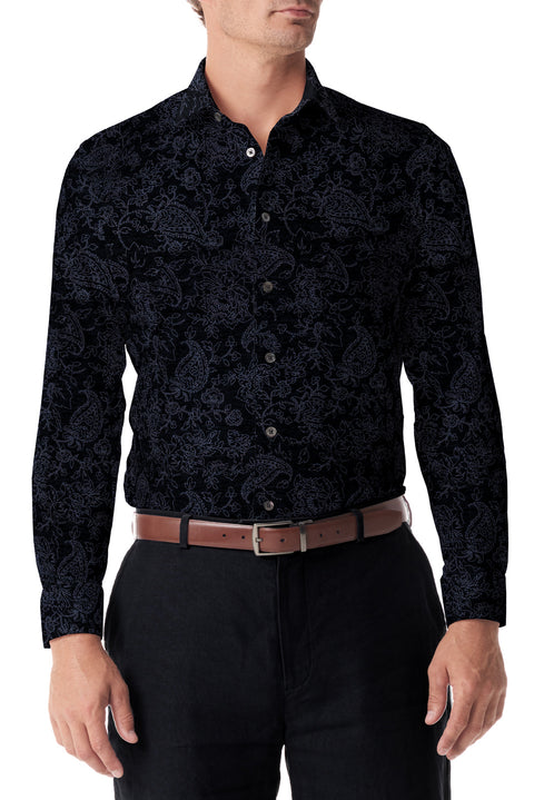 Black Paisley Stretch Knit Button Up - SCARCI