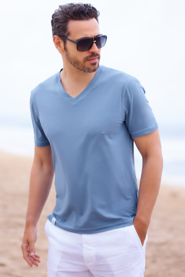 Men's Cotton Beachwear Tee Shirt V Neck