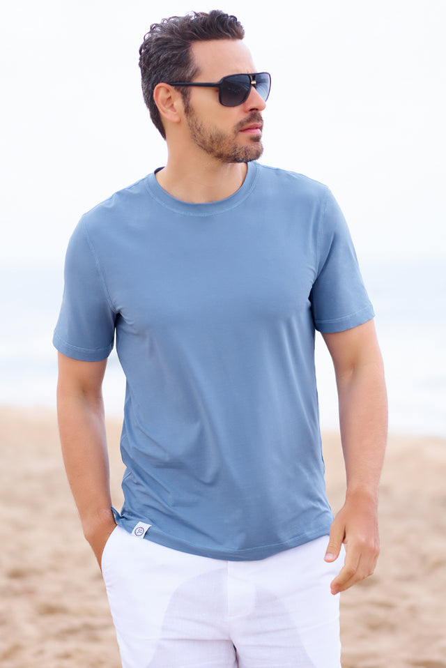Blue Stretch Cotton Crew Neck - SCARCI Italian Sportswear