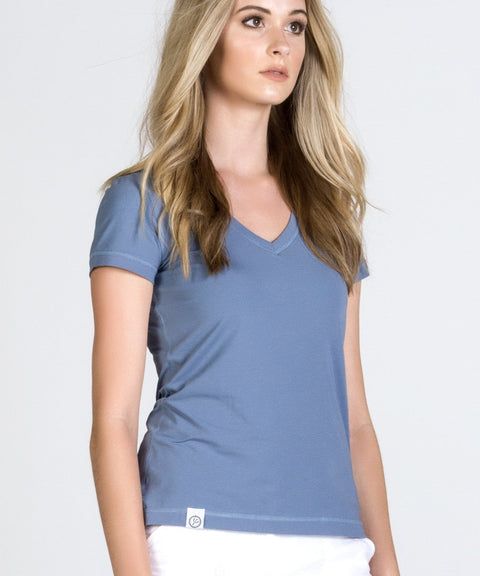 Blue Stretch Cotton V Neck