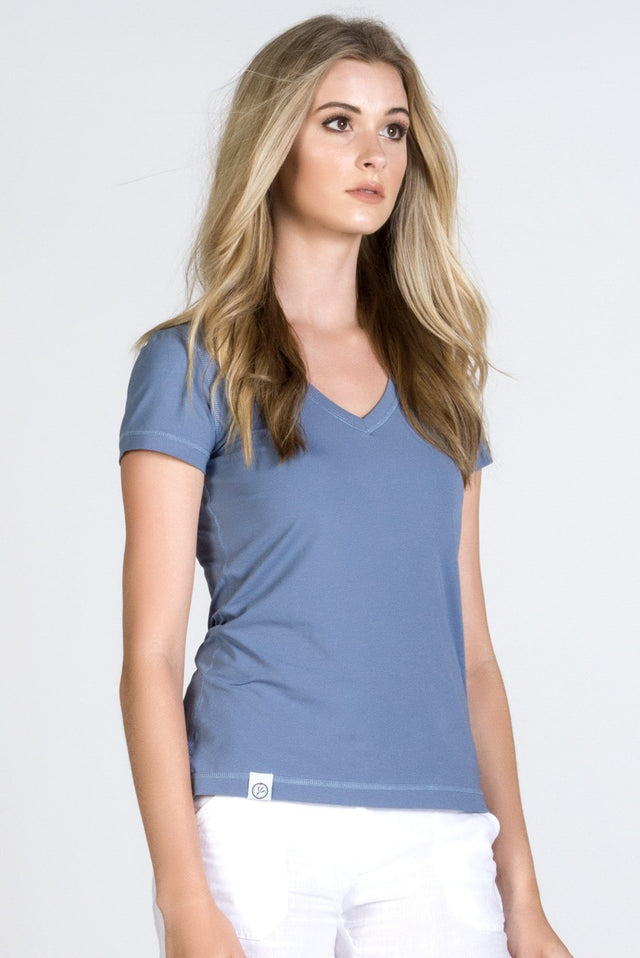 Blue Stretch Cotton V Neck - SCARCI