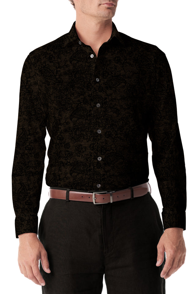 Brown Paisley Stretch Knit Button Up - SCARCI