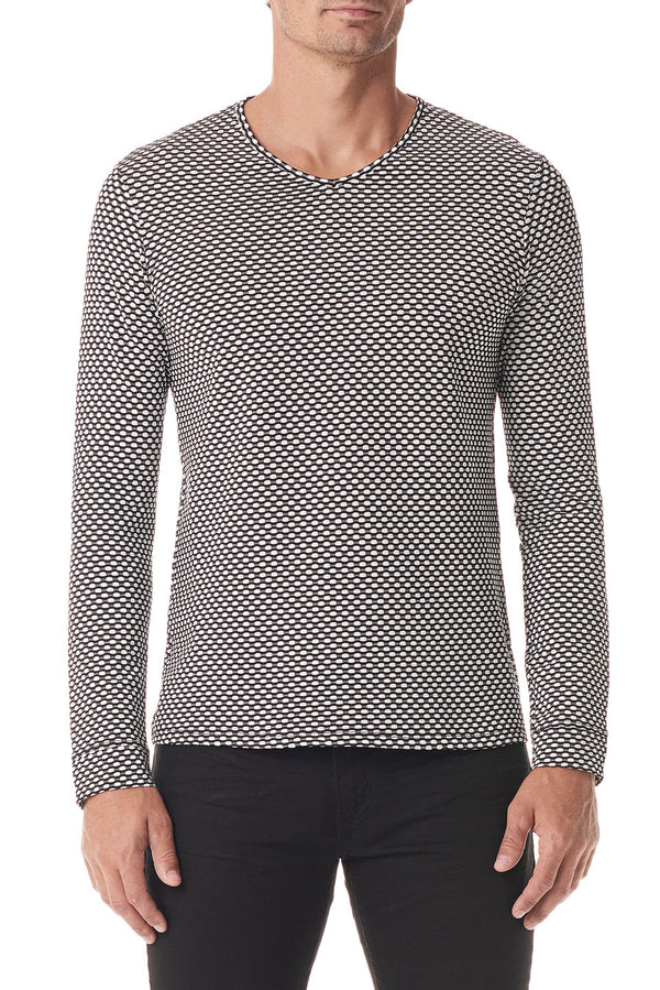 Black / White Fisheye V Neck Long Sleeve - SCARCI Italian Sportswear