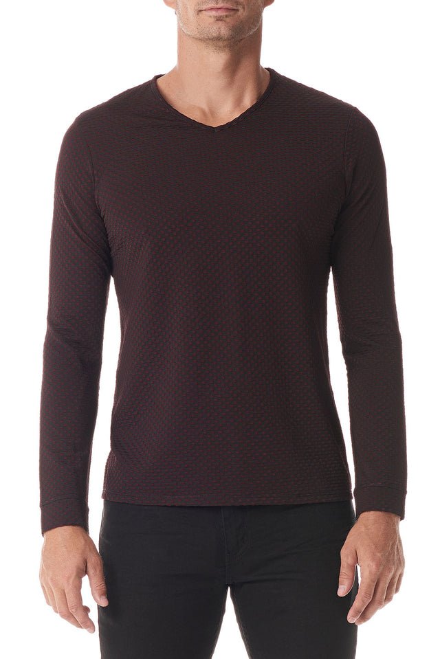 Vino Fisheye Texture Mens Designer Long Sleeve T-Shirt - SCARCI