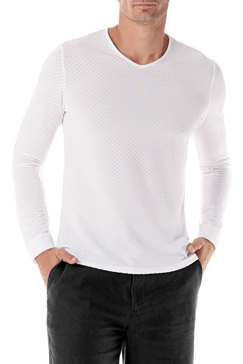 White Fisheye V Neck Long Sleeve - SCARCI Italian Sportswear