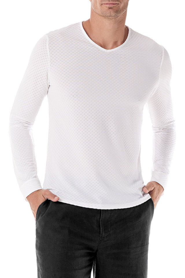 White Fisheye V Neck Long Sleeve - SCARCI