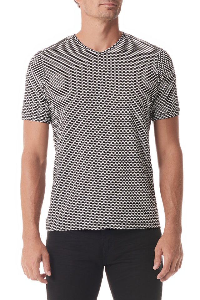 Black / White Fisheye V Neck Short Sleeve