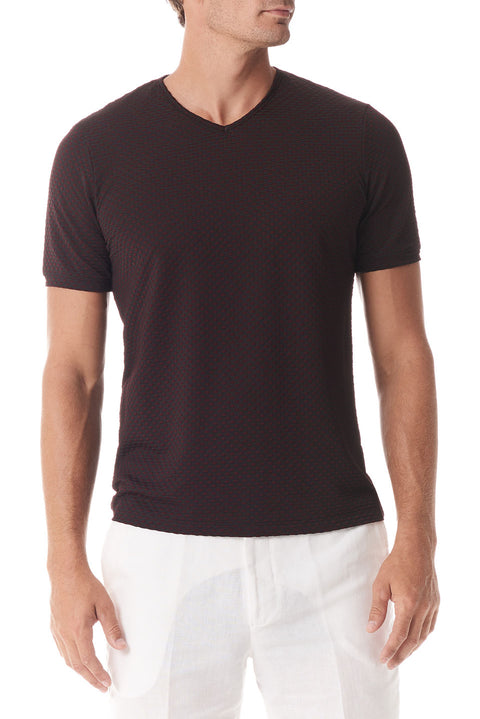 Black / Vino Fisheye V Neck Short Sleeve