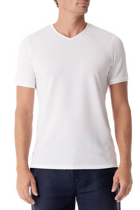 White Fisheye V Neck Short Sleeve