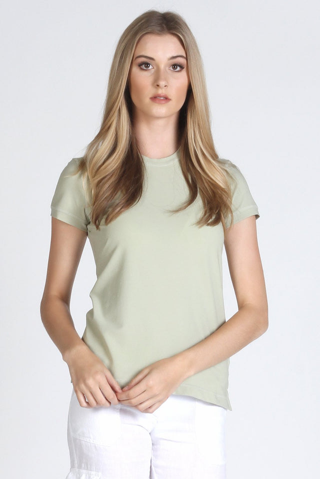 Green Stretch Cotton Crew Neck
