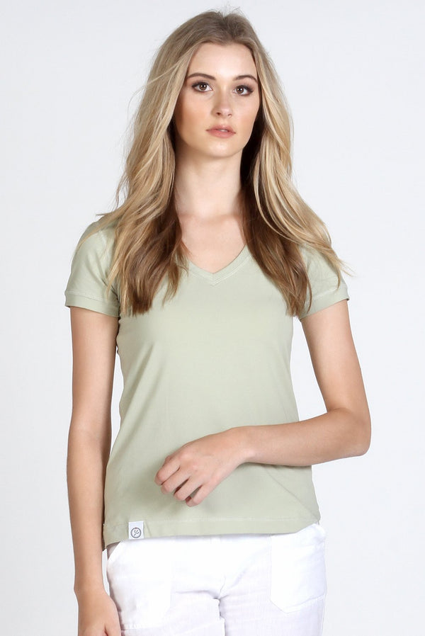 Green Stretch Cotton V Neck