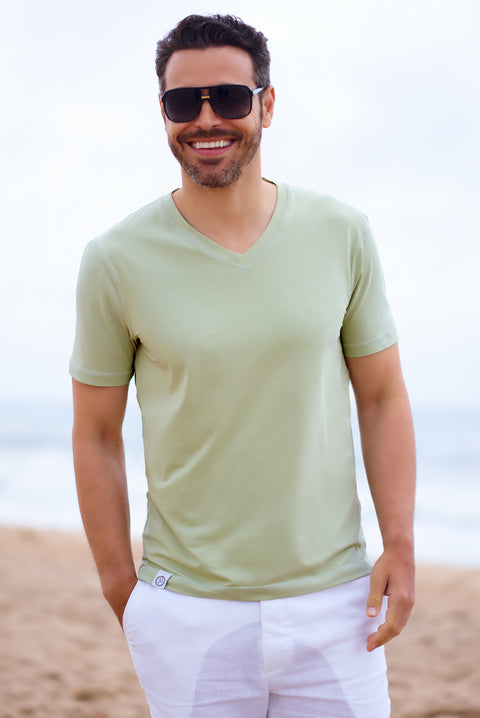 Green Stretch Cotton V Neck - SCARCI