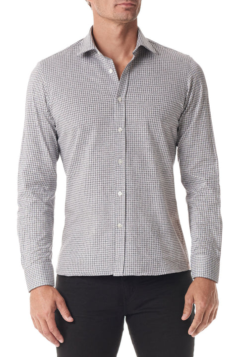 Grey Gingham Stretch Cotton Button Up - SCARCI