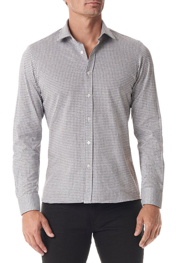 Grey Gingham Stretch Cotton Button Up - SCARCI Italian Sportswear