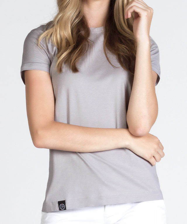 Women's Grey Round Neck Beach Tee Shirt