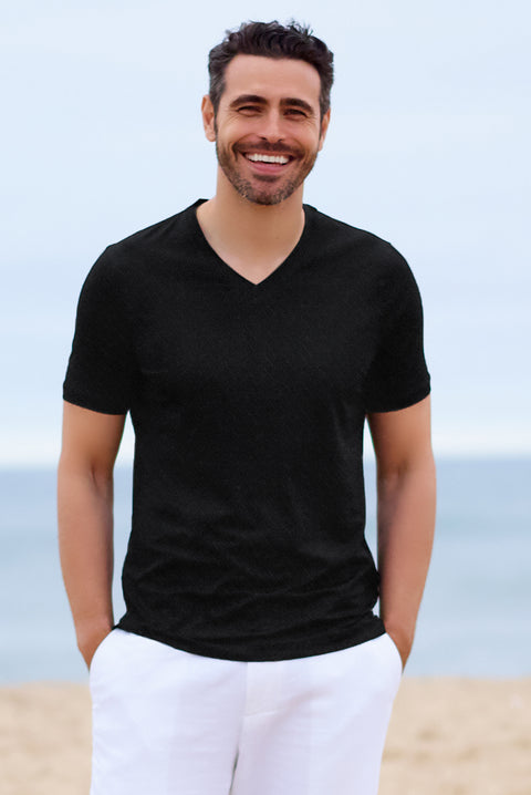 Black Hatched Texture V Neck - SCARCI