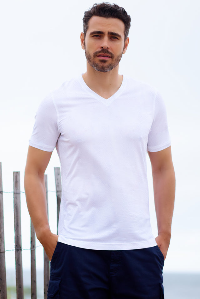White Hatched Texture V Neck - SCARCI