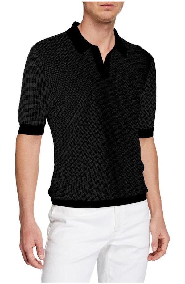 Black Amalfi Johnny Collar Polo - SCARCI