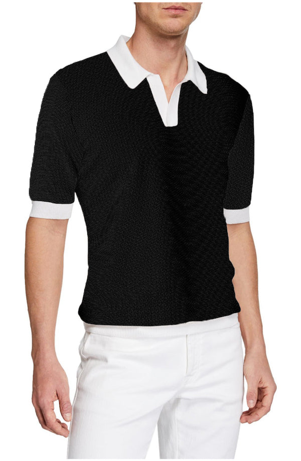 Black Amalfi White Johnny Collar Polo - SCARCI