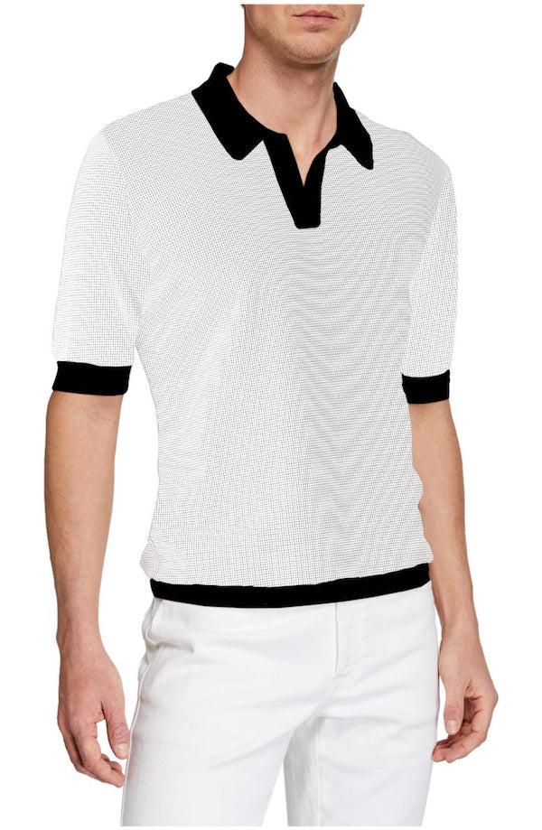 White Amalfi Black Johnny Collar Polo - SCARCI