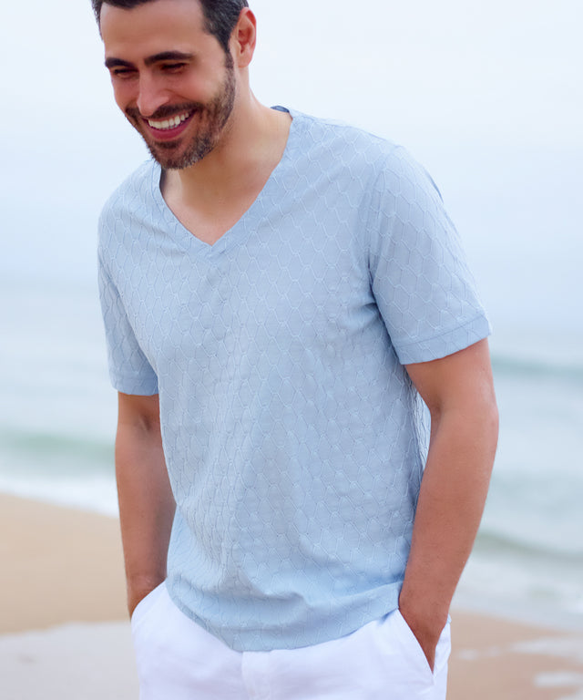 Men's Cotton V Neck Tee Shirt Light Blue